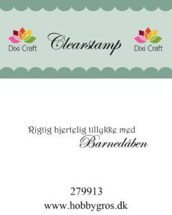 DIXI CRAFT – Stempel –Tillykke med barnedåben