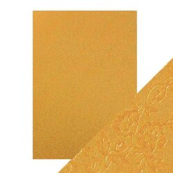 Craft Perfect – Luxury Embossed Card – Honey Gold Roses – A4