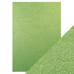 Craft Perfect – Luxury Embossed Card – green leaves – A4