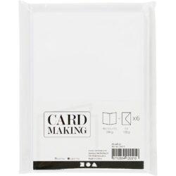 Kort & Kuverter – 10,5 x 15 cm – 6 sæt – Hvid
