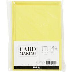 Kort & Kuverter – 10,5 x 15 cm – 6 sæt – Gul