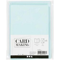 Kort & Kuverter – 10,5 x 15 cm – 6 sæt – Lyseblå