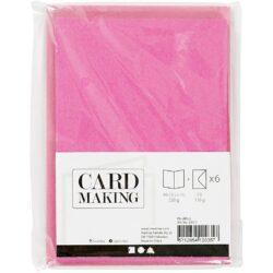 Kort & Kuverter – 10,5 x 15 cm – 6 sæt – Pink