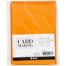 Kort & Kuverter – 10,5 x 15 cm – 6 sæt – Orange