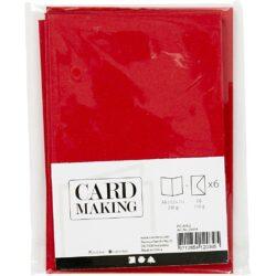 Kort & Kuverter – 10,5 x 15 cm – 6 sæt – Rød