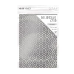 Craft Perfect – Karton med folie – silver damask