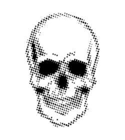 Andy Skinner Stencil – Half Tone Skull