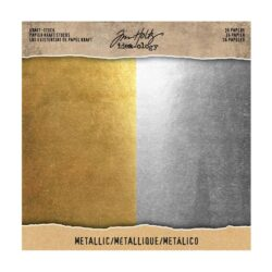 Tim Holtz kraft stock 20,3×20,3cm x36 metallic paperie