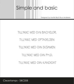 Simple and Basic stempel – Tillykke med din bachelor