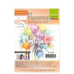1 ark – Florence – Watercolor paper Smoth – Råhvid – A5