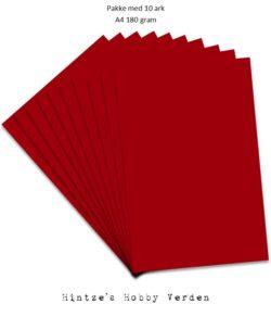 Pakke med 10 ark Playcut A4 solbærrød