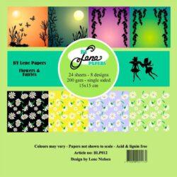 BY LENE Papirblok – 15×15 – Flowers & Fairies