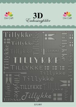 Dixi Craft 3D EMBOSSINGFOLDER – Tillykke