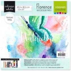 1 ark – Florence – Watercolor paper texture – Ekstra hvid – 30,5 x 30,5 cm
