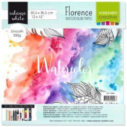 1 ark – Florence – Watercolor paper Smoth – Ekstra hvid –  30,5 x 30,5 cm