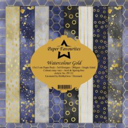Paper Favourites Paper Pack – 15×15 cm – Watercolour Gold