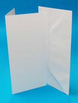 10 sæt Kort & Kuverter 9,8×21 Hvid
