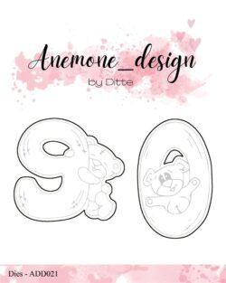 Anemone Design Die – Teddy Bear – 9 & 0