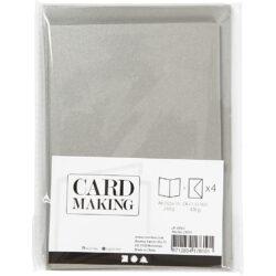 Kort & Kuverter – 10,5 x 15 cm – 4 sæt – Perlemor – Sølv