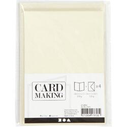Kort & Kuverter – 10,5 x 15 cm – 4 sæt – Perlemor – Råhvid
