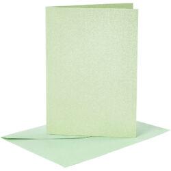 Kort & Kuverter – 10,5 x 15 cm – 4 sæt – Perlemor – Lys Grøn