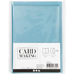 Kort & Kuverter – 10,5 x 15 cm – 4 sæt – Perlemor – Blå