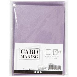 Kort & Kuverter – 10,5 x 15 cm – 4 sæt – Perlemor – Lilla