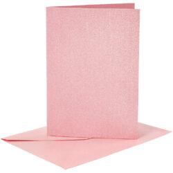 Kort & Kuverter – 10,5 x 15 cm – 4 sæt – Perlemor – Rosa