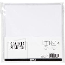 Kort & Kuverter – 15,2 x 15,2 cm – 4 sæt – Hvid
