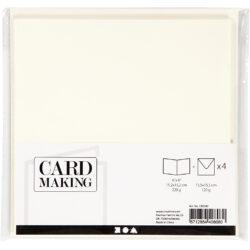 Kort & Kuverter – 15,2 x 15,2 cm – 4 sæt – Råhvid