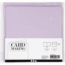 Kort & Kuverter – 15,2 x 15,2 cm – 4 sæt – Lys Lilla