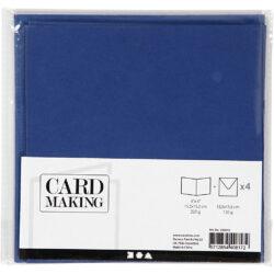 Kort & Kuverter – 15,2 x 15,2 cm – 4 sæt – Blå
