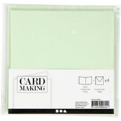 Kort & Kuverter – 15,2 x 15,2 cm – 4 sæt – Lys Grøn