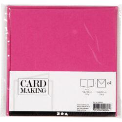 Kort & Kuverter – 15,2 x 15,2 cm – 4 sæt – Pink