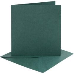 Kort & Kuverter – 15,2 x 15,2 cm – 4 sæt – Mørk Grøn