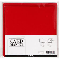 Kort & Kuverter – 15,2 x 15,2 cm – 4 sæt – Rød