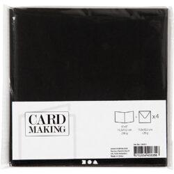 Kort & Kuverter – 15,2 x 15,2 cm – 4 sæt – Sort
