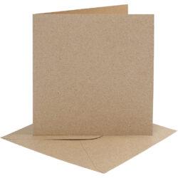 Kort & Kuverter – 15,2 x 15,2 cm – 4 sæt – Natur