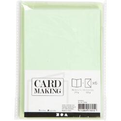 Kort & Kuverter – 10,5 x 15 cm – 6 sæt – Lys Grøn