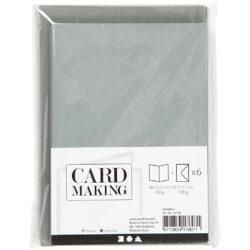 Kort & Kuverter – 10,5 x 15 cm – 6 sæt – Grå