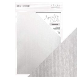 Craft Perfect – Luxury Embossed Card – Silver Pinstripe A4